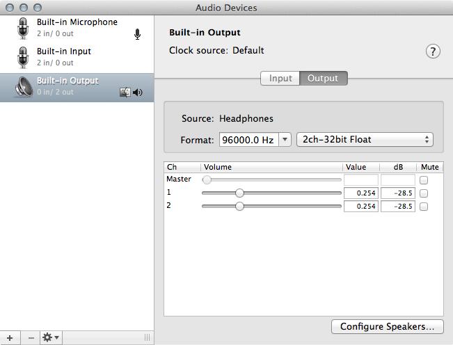 Audio MIDI Setup on OS X (10.8.5)