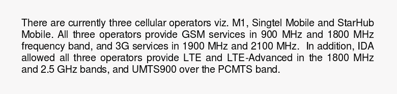 GSM services in 900 MHz and 1800 MHz, 3G services in 1900 MHz and 2100 MHz and LTE and LTE-Advanced in 1800 MHz and 2.5 GHz bands