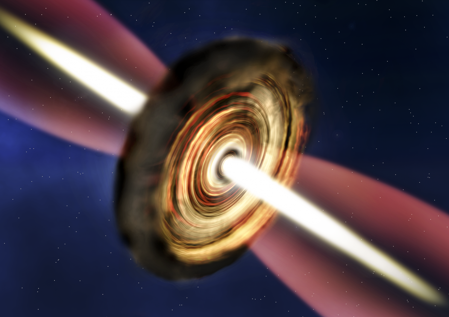 An artist's impression of the disc and outflow around the massive young star. (Credit: A. Smith, Institute of Astronomy, Cambridge)