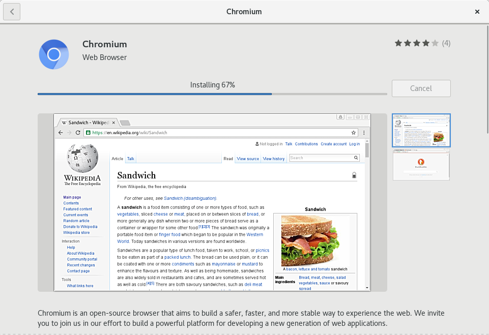 Why does the Chromium browser screenshot feature the Wikipedia page for 'Sandwich'?