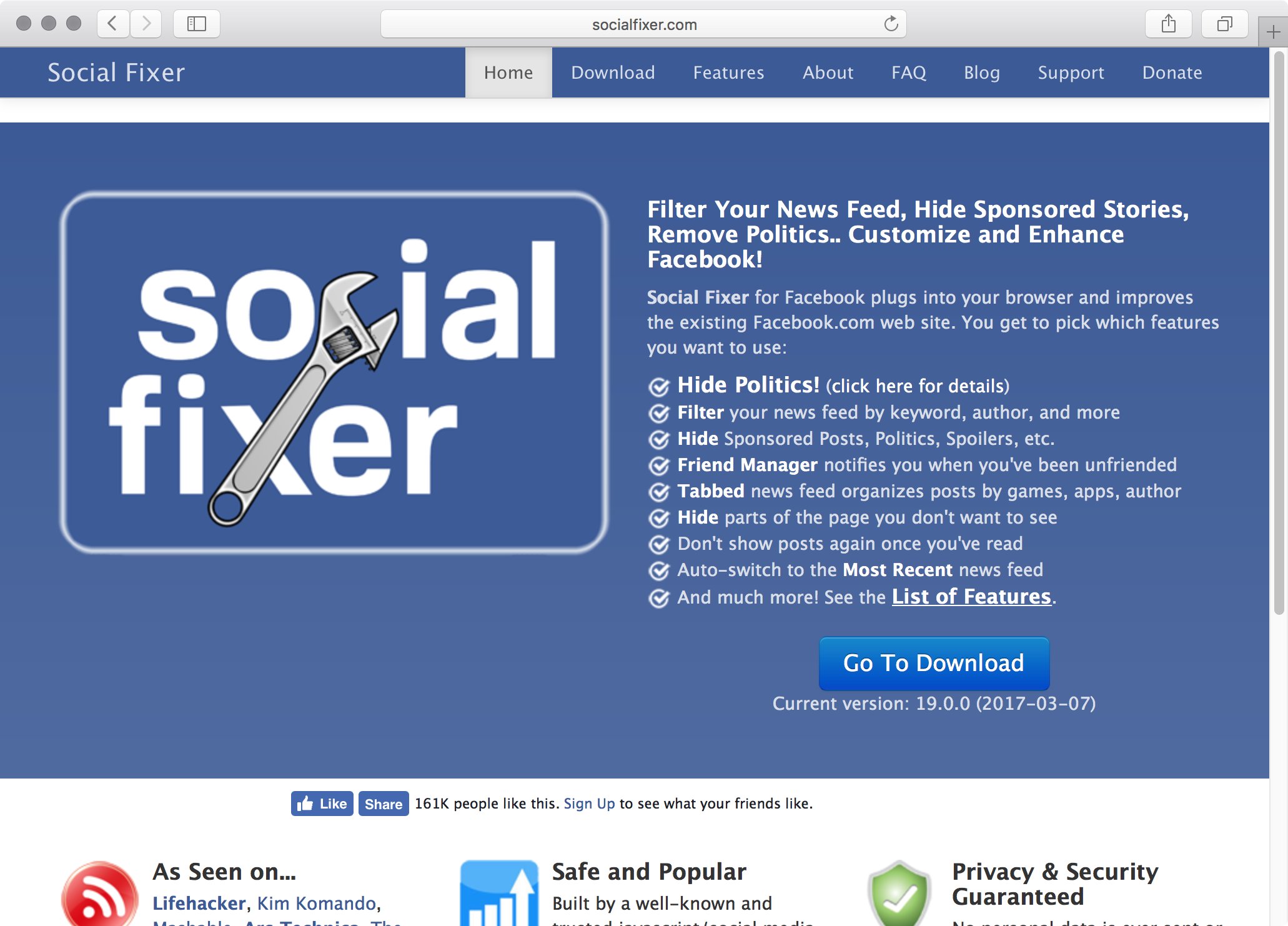 Social Fixer for Facebook plugs into your browser and improves the existing Facebook.com web site