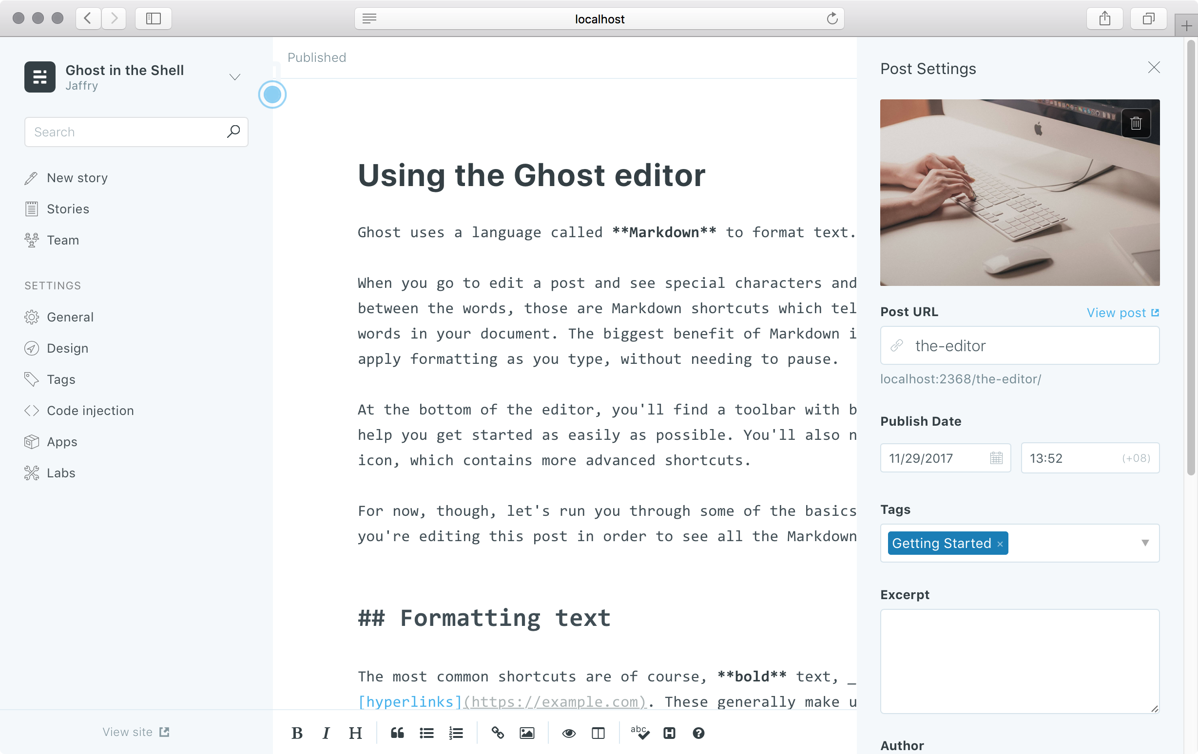 A snapshot of the ghost editor interface