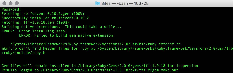 "OS X – ""Error installing sass"""