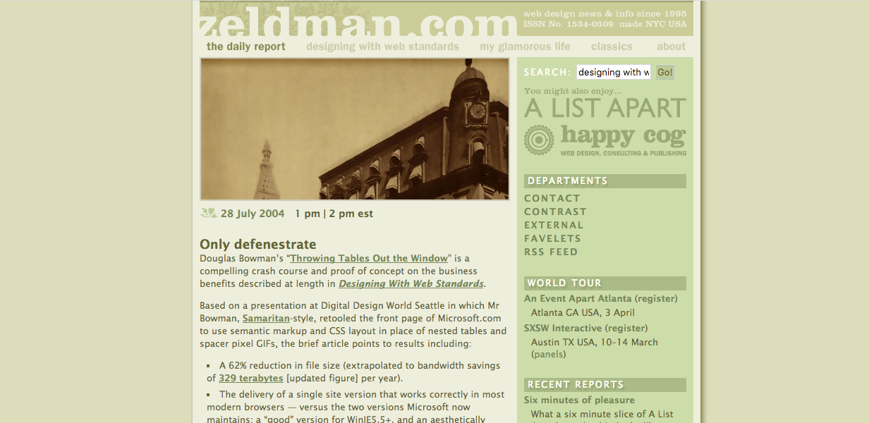 From 2004, this was zeldman.com in the iconic green design