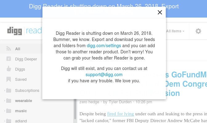 The free Digg Reader will cease to exist